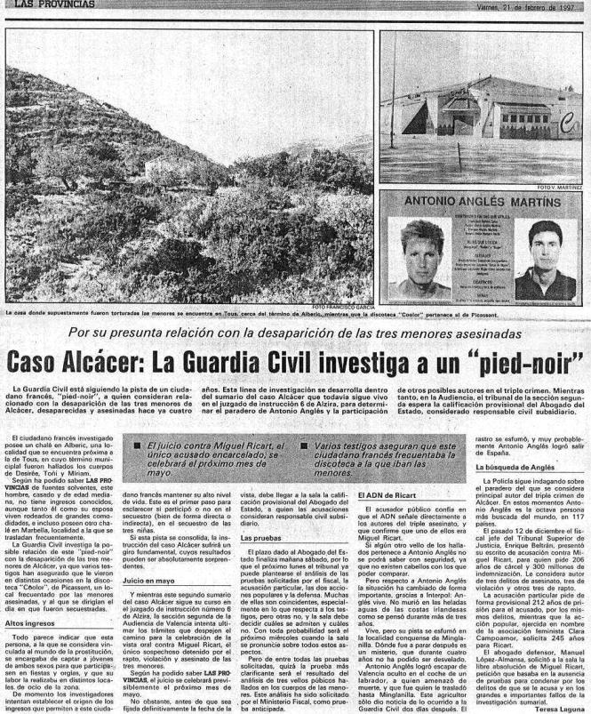 1997.02.21 Caso Alcacer. La Guardia Civil Investiga A Un Pied Noir. Las Provincias. Viernes, 21 De Febrero De 1997