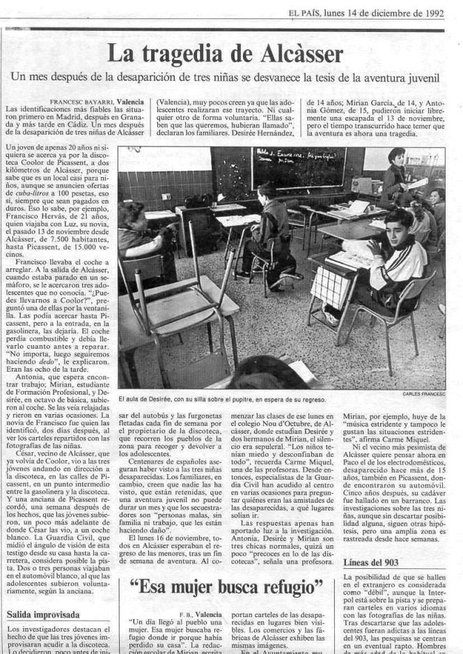 1992.12.14 El Pais. La Tragedia De Alcasser (Cesar Cano Llacer)