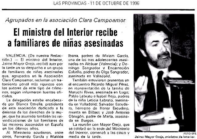 1996.10.11 El Ministro Del Interior Recibe A Familiares De Niñas Asesinadas. Apoyadas Por Clara Campoamor 02